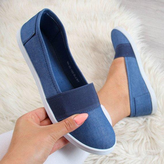 Niebieskie tenisówki jeansowe slip on z gumą Wishot