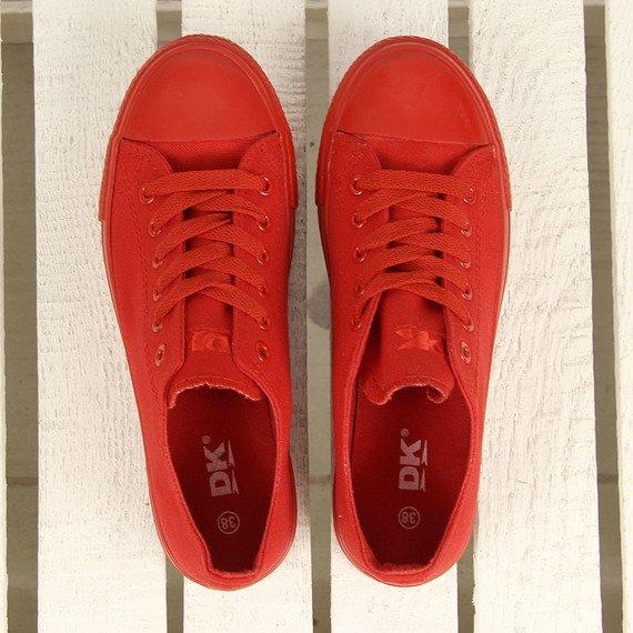 Czerwone trampki sznurowane niskie DK