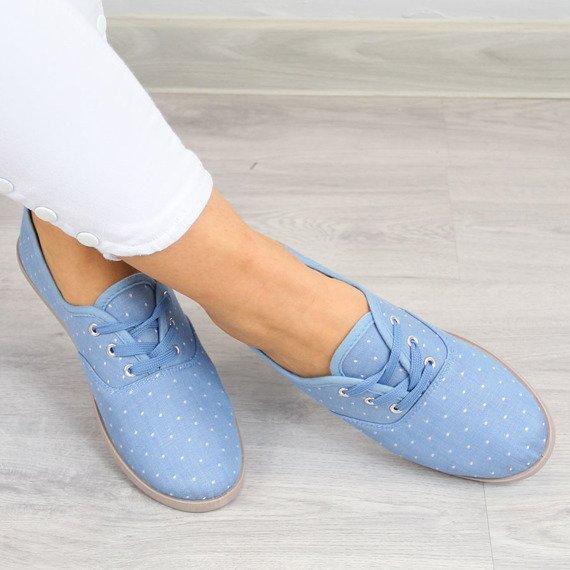 Niebieskie tenisówki damskie w kropki Wishot