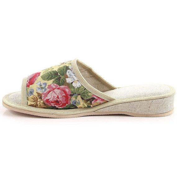 Laczki damskie domowe w kwiaty beżowe Eliza