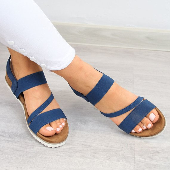 Sandały damskie na gumkę granatowe eVento