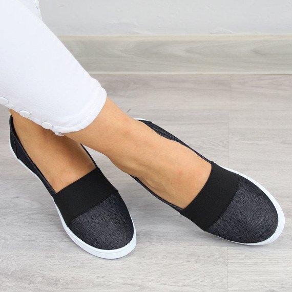 Czarne tenisówki jeansowe slip on z gumą Wishot