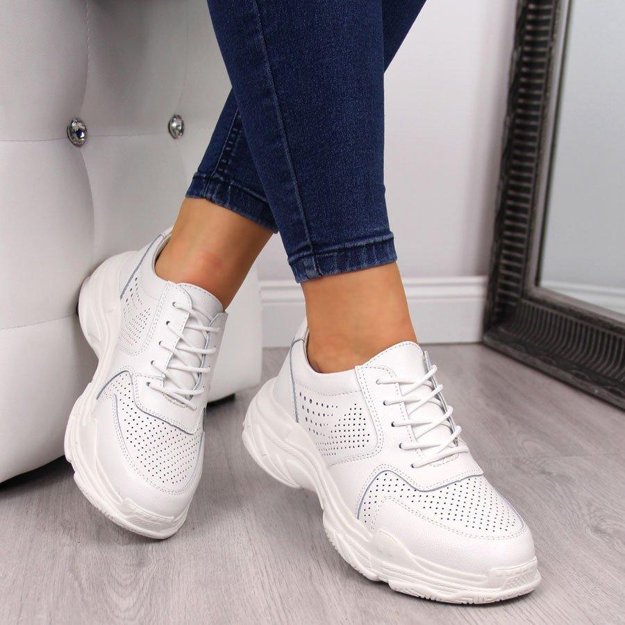 Buty sportowe damskie skórzane ażurowe białe Filippo