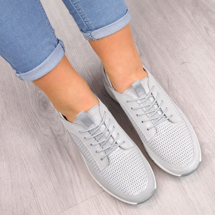 Buty sportowe damskie skórzane ażurowe srebrne Jezzi srebrny