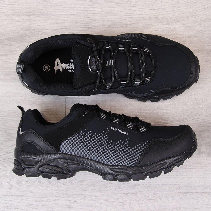 7983f655 Buty sportowe trekkingowe wodoodporne czarne American Club 23730 za ...