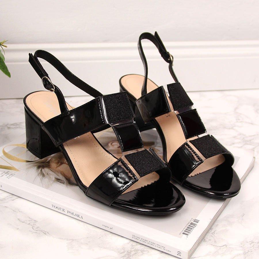Sandały damskie na klocku lakierowane czarne Sergio Leone