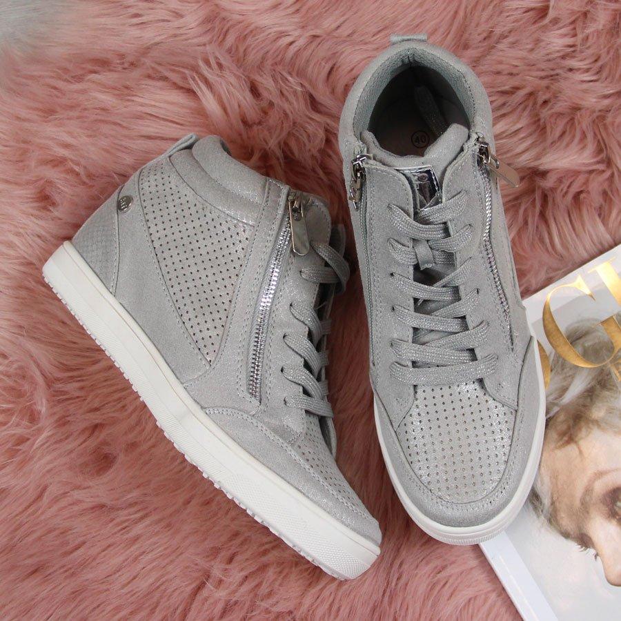 8cd71c11 Sneakersy damskie na koturnie szare Xti 24557 za - ButyRaj.pl