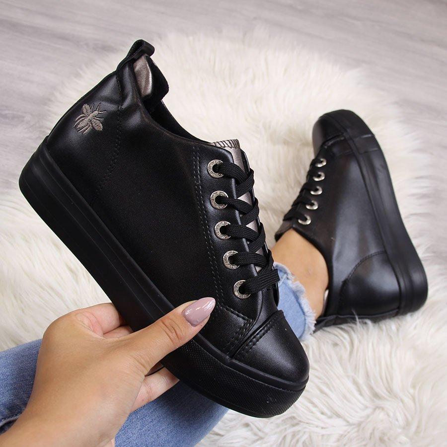 575e4807 Sneakersy damskie tenisówki na koturnie czarne McKeylor 22718 za ...