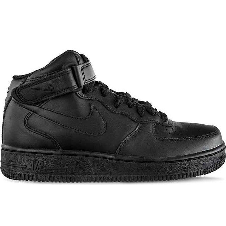 Sneakersy męskie skórzane czarne Nike Air Force 1 Mid 07 001