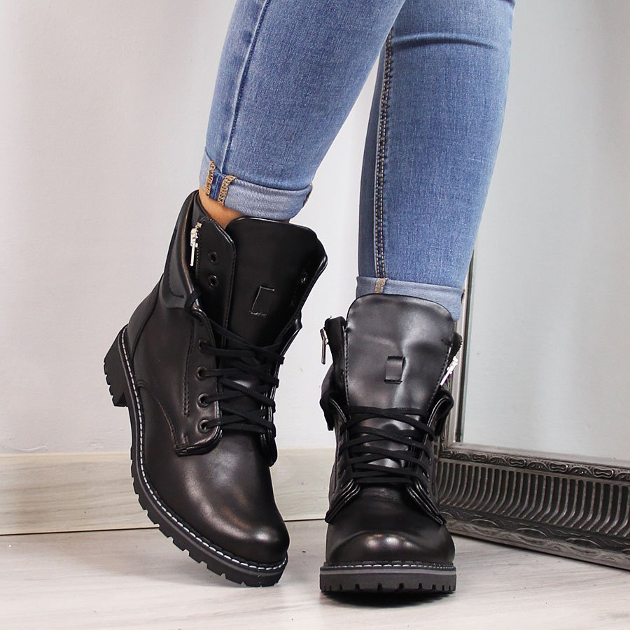 Czarne skórzane buty sportowe damskie ocieplane
