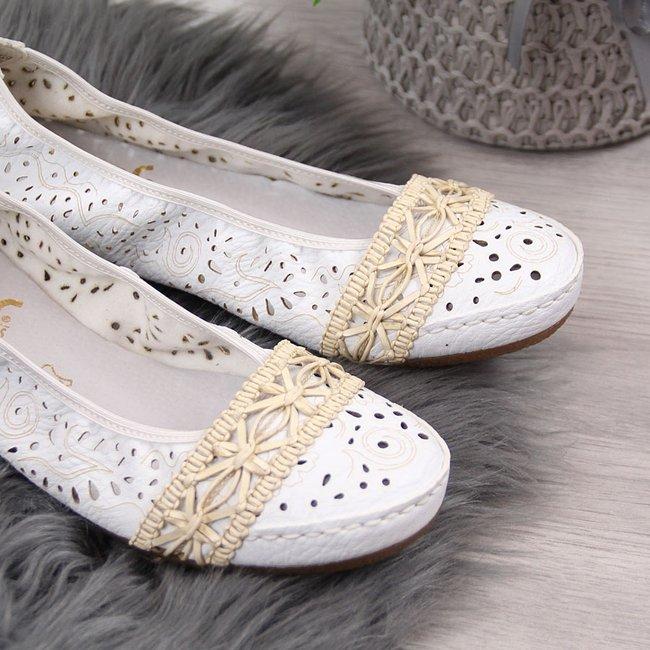 Baleriny damskie ażurowe białe Rieker 41466