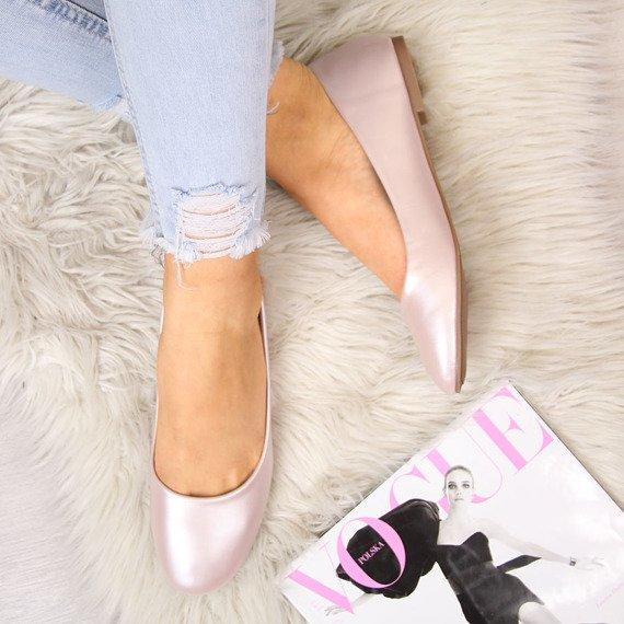 Baleriny damskie klasyczne perłowe różowe Vinceza