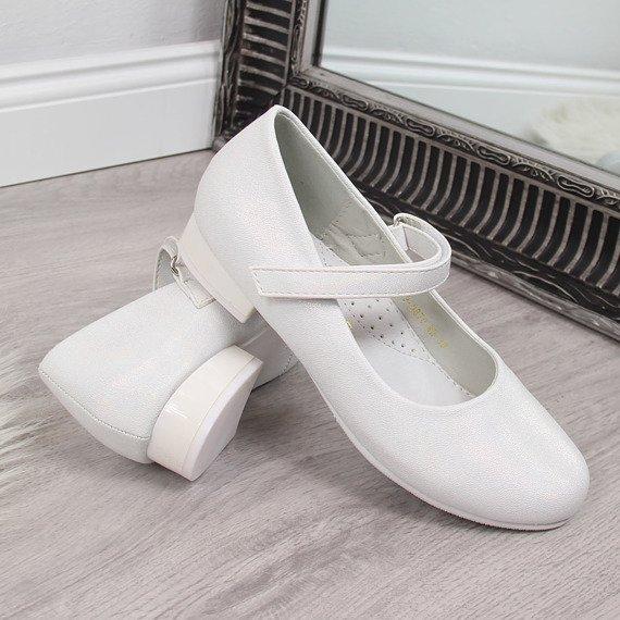 Baleriny dziewczęce komunijne białe Vinceza
