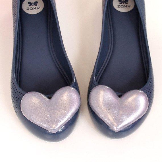 Baleriny gumowe z sercem granatowe Zaxy New Pop Beauty