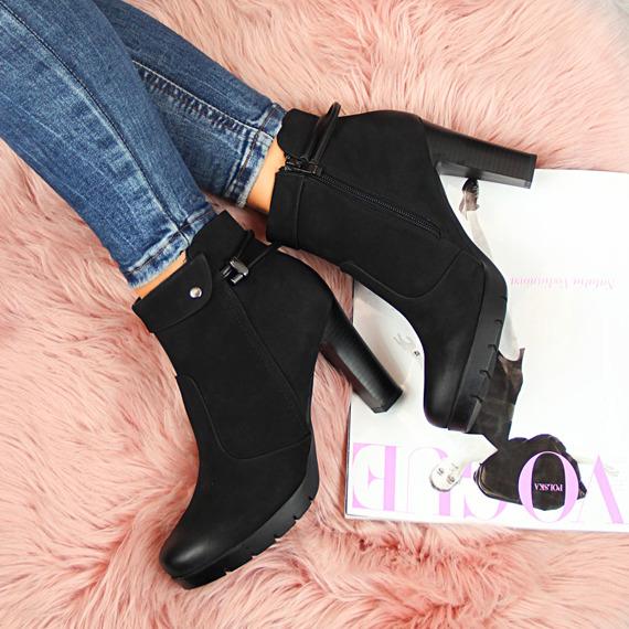 Botki damskie na słupku czarne Ladies Style