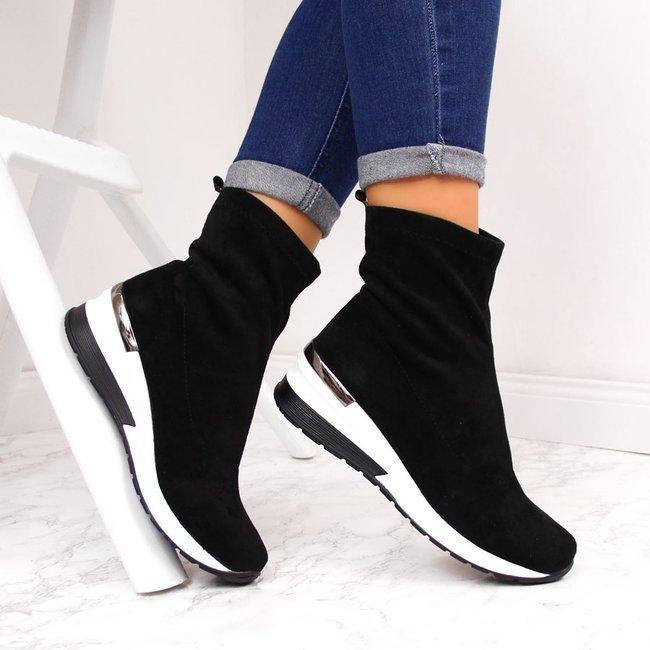 Botki damskie sneakersy na koturnie czarne Filippo