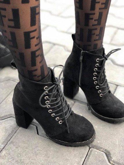 Botki damskie zamszowe z cyrkoniami czarne Lu Boo