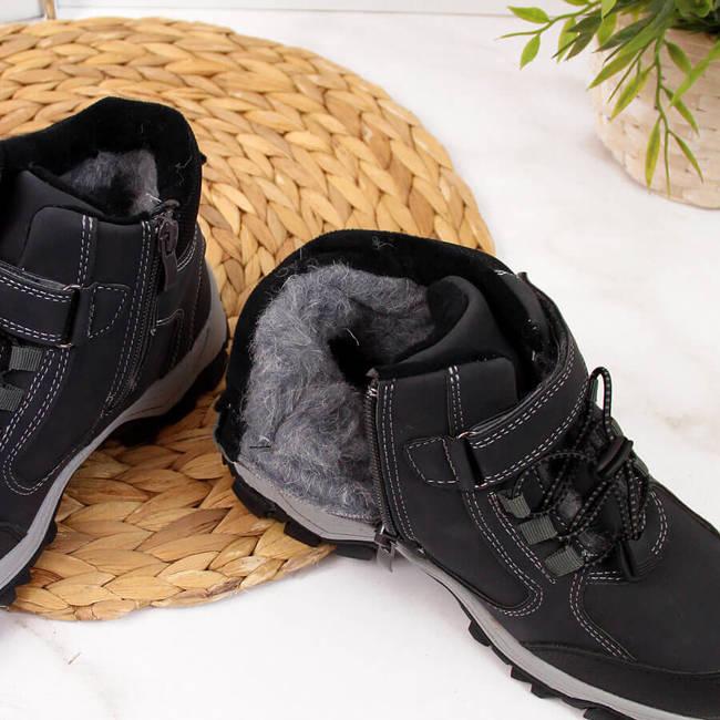 Buty chłopięce trapery ocieplane wełną owczą czarne NEWS