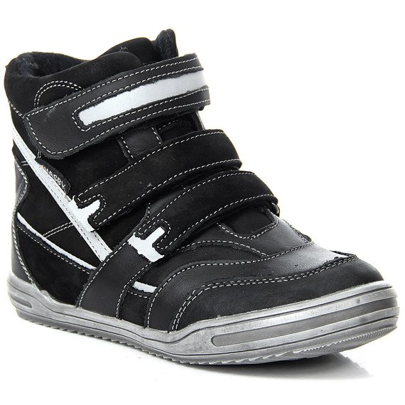 Buty skórzane chłopięce na rzepy ocieplane Hasby