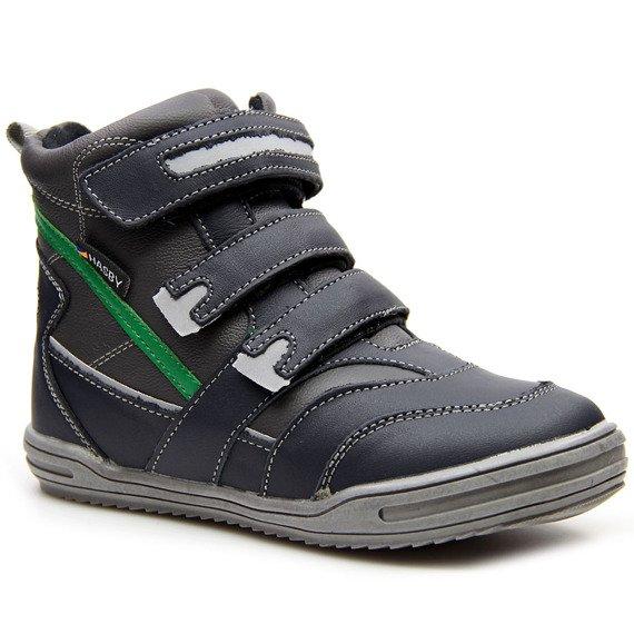 Buty skórzane chłopięce na rzepy ocieplane granatowe Hasby