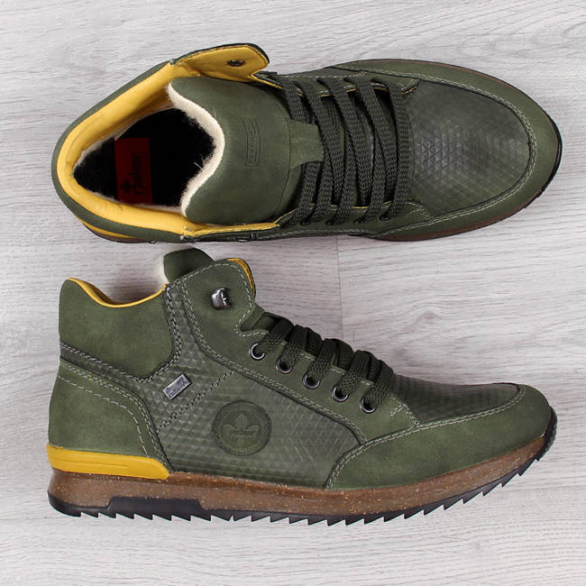 Buty skórzane męskie wodoodporne ocieplane khaki Rieker 36142-52