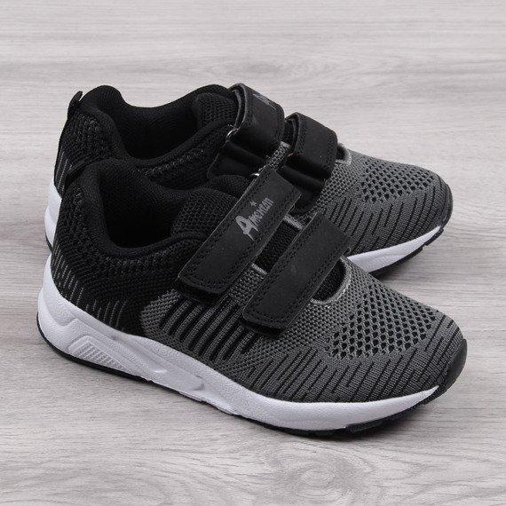 Buty sportowe chłopięce na rzepy szare czarne American Club
