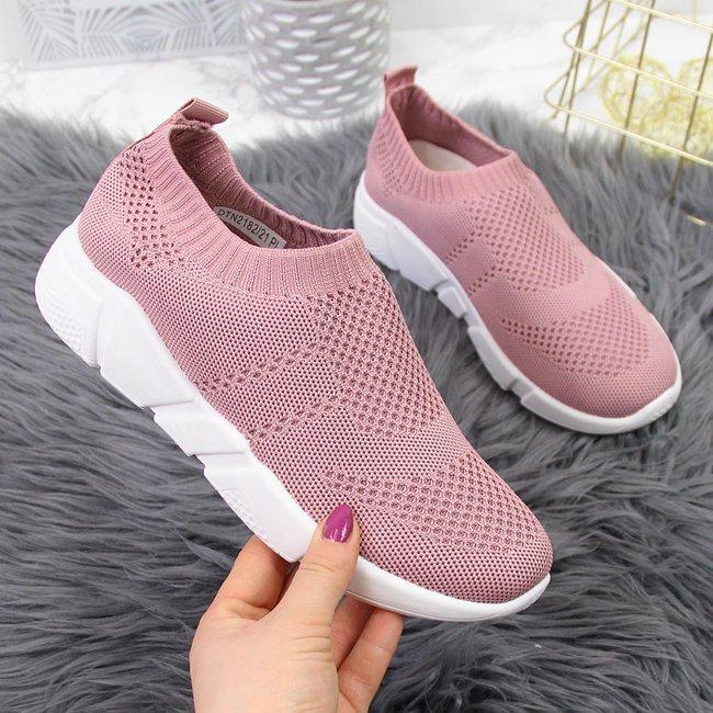 Buty sportowe damskie skarpetkowe slip on różowe Filippo