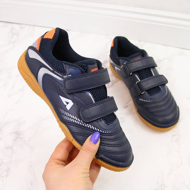 Buty sportowe dziecięce halówki na rzepy granat American Club