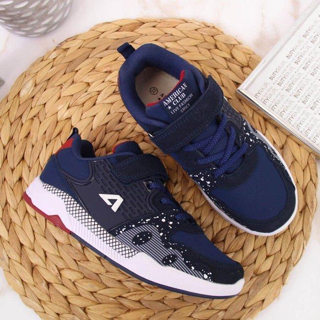 Buty sportowe dziecięce na rzep granatowe American Club