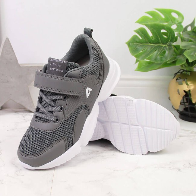 Buty sportowe dziecięce na rzep szare American Club