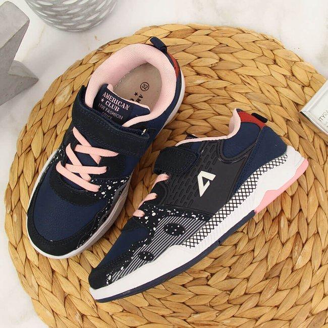 Buty sportowe dziewczęce na rzep granatowe  American Club