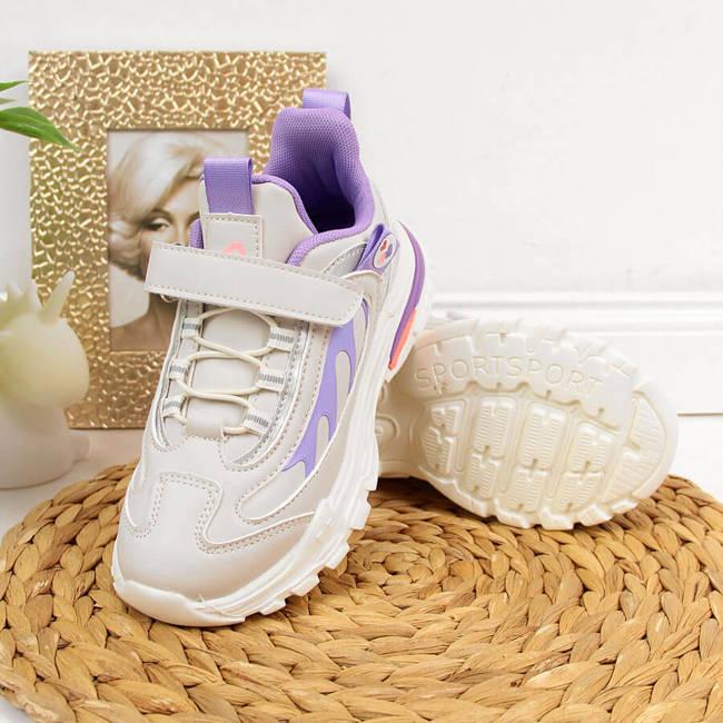 Buty sportowe dziewczęce na rzep szare American Club