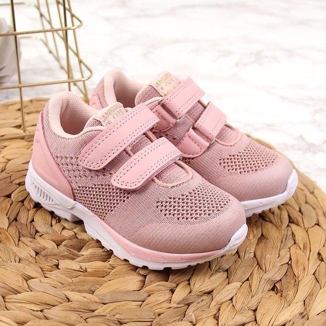 Buty sportowe dziewczęce na rzepy różowe American Club