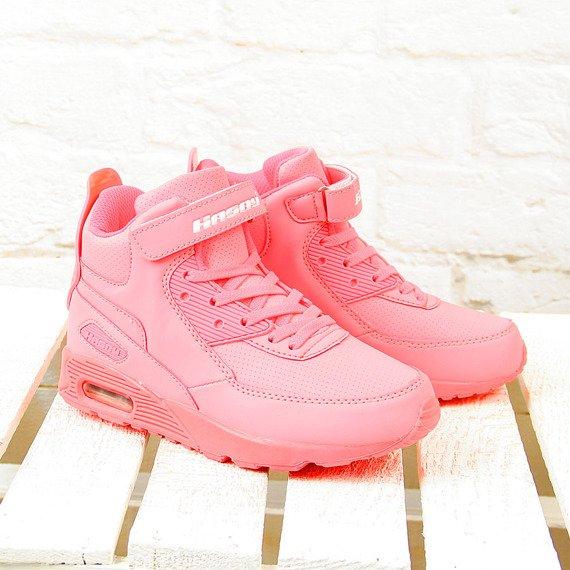 Buty sportowe dziewczęce wysokie neonowe Hasby