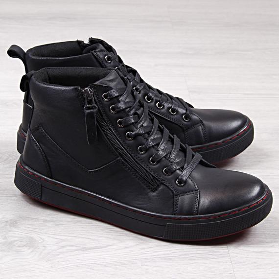 Buty sportowe męskie skórzane czarne McKey