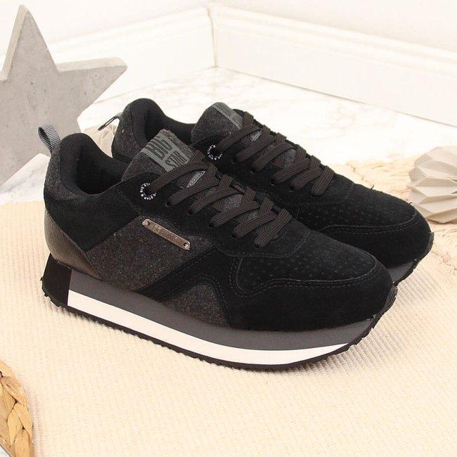 Buty sportowe na platformie skóra czarne Big Star GG274464
