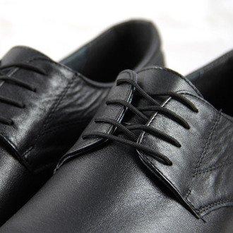 Czarne półbuty męskie skórzane komfortowe Łukbut 869