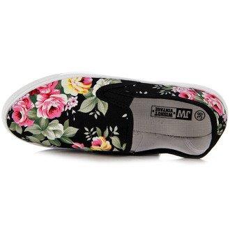 Czarne tenisówki slip on w kwiaty Wishot