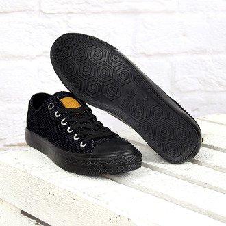 Czarne tenisówki sznurowane z wzorem Big Star V274567