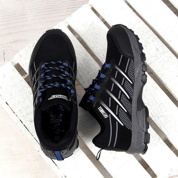 Czarno niebieskie buty męskie trekkingowe Wishot