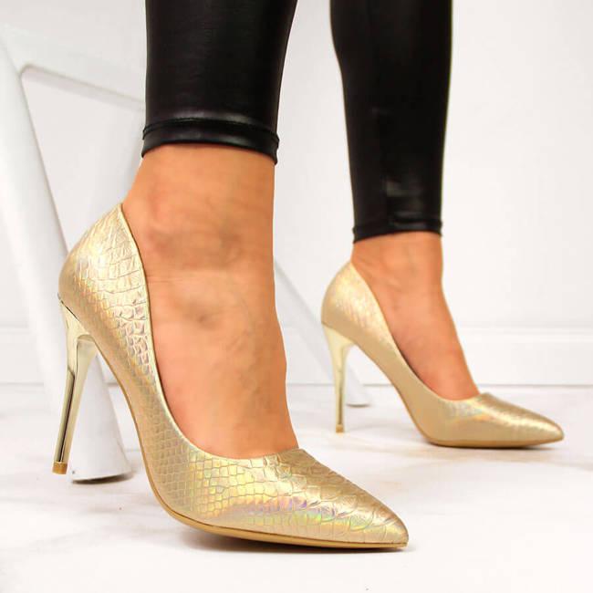 Czółenka na szpilce lakierowane kroko złote Seastar