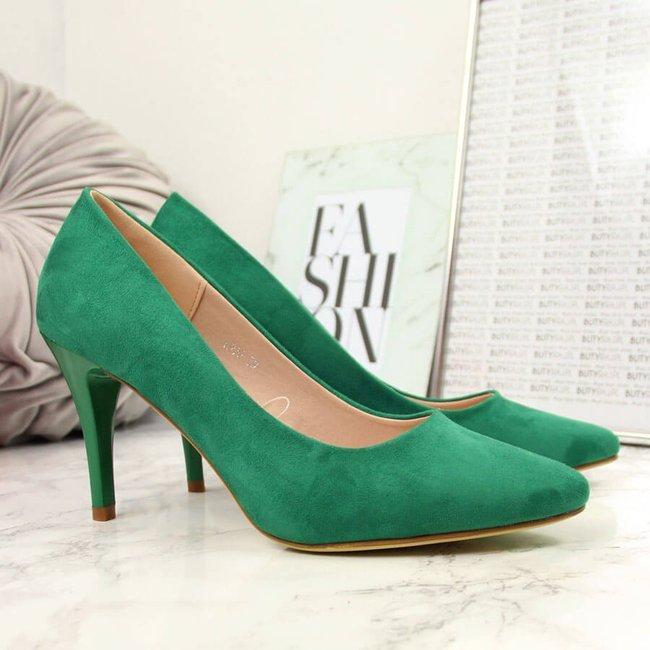 Czółenka na szpilce zamszowe zielone Sergio Leone