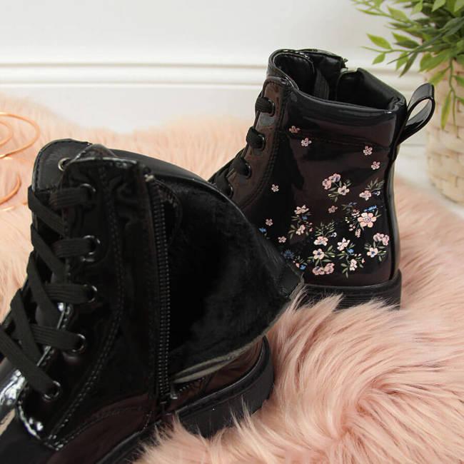 Glany dziewczęce ocieplane w kwiatki czarne Miss❤E