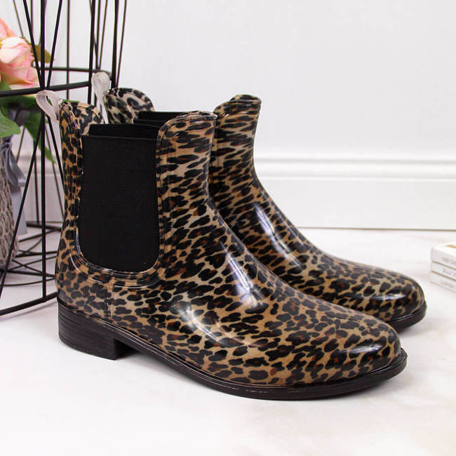 Kalosze damskie sztyblety leopard brązowe T.Sokolski
