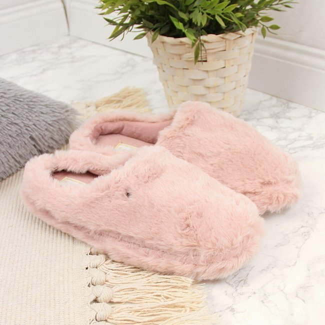Kapcie damskie ocieplane domowe różowe Caramia