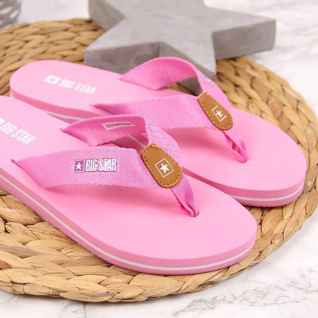 Klapki damskie japonki plażowe różowe Big Star DD274A255