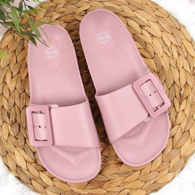 Klapki damskie piankowe plażowe różowe Big Star FF274A387