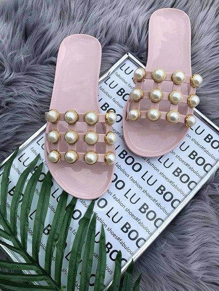 Klapki damskie z perełkami pudrowy róż Lu Boo