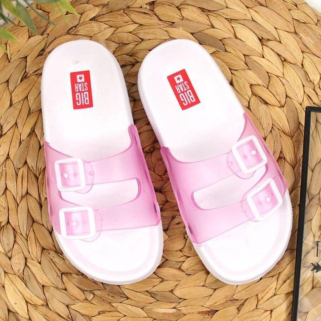 Klapki dziewczęce gumowe plażowe różowe Big Star FF374174