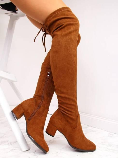 Kozaki damskie za kolano zamszowe camel Sergio Leone